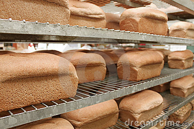 Loaves of bread in bakery