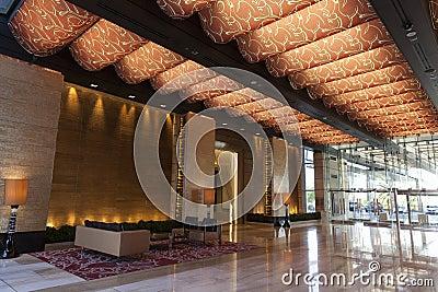 Lobby för M-semesterorthotell i Las Vegas, NV på Augusti 20, 2013 Redaktionell Fotografering för Bildbyråer