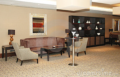 Lobby of the hotel with sofas