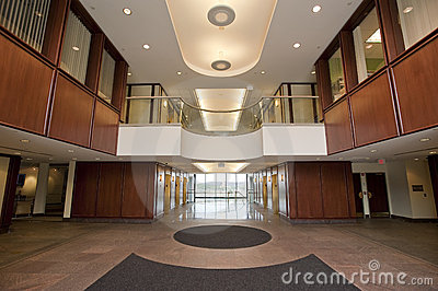 Lobby in modern office building