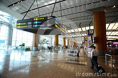 Lobby of Singapore Changi Airport Editorial Image
