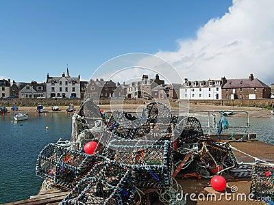 Lobster pot in Stonehaven harbor, Scotland