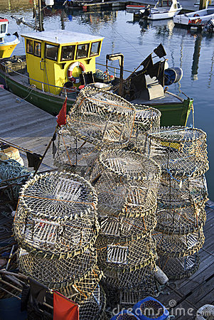 Lobster pots & fishing boat