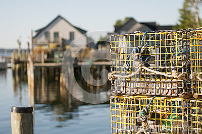 Lobster pots and wharf