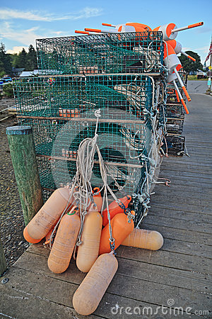 Lobster traps buoys stock photo image 58957440 for Best time to visit maine for lobster