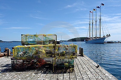 Lobster Traps on a Dock in Maine Fishing Port