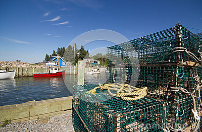 Lobster traps and fishing boats