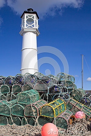 Lobster traps with lighthouse