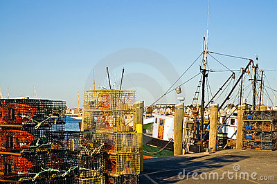 Lobster traps on pier