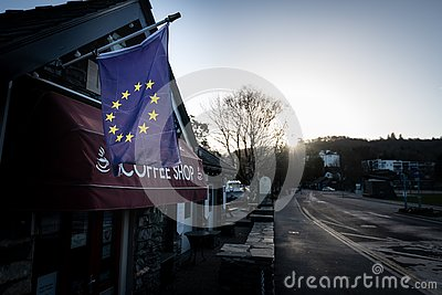 Local Business flies EU Flag amid Brexit Crisis Editorial Stock Photo
