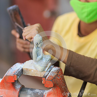 Free Local Crafts Of Cambodia Handmade Marble Carved Royalty Free Stock Images - 44045529