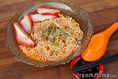 Local cuisine Kolo Mee in Kuching, Sarawak, Malaysia