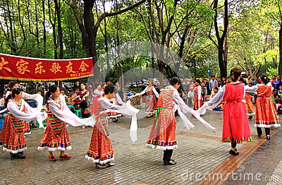Chinese traditional dance Chengdu China Editorial Stock Image