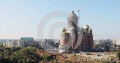 Local de construção da Catedrala Mantuirii Neamului  Catedral  Salvação do Povo, video estoque