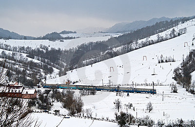 The local electric train passes the Carpathians