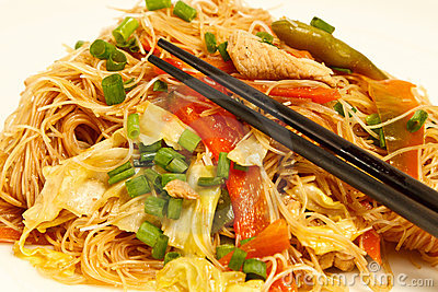 Local Filipino food - Stir fried pancit noodles