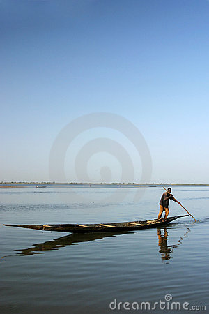 Local fisherman on the river Niger Editorial Image