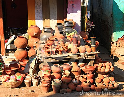 Local Indian Pottery shop , MP, India