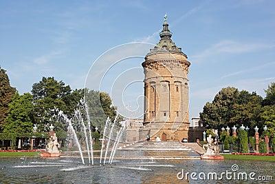 Local landmark Wasserturm in Mannheim, Germany