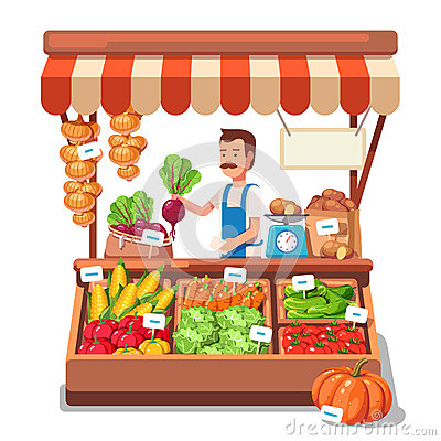 Local market farmer selling vegetables Vector Illustration