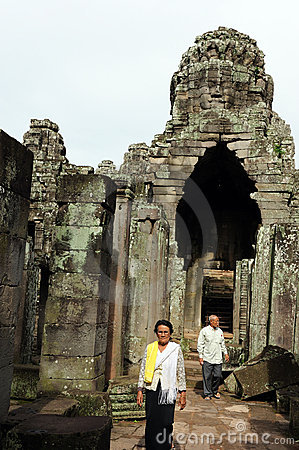 Local residents visit Bayon temple, Editorial Photo