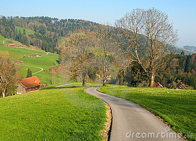 Local road in farm village Switzerland