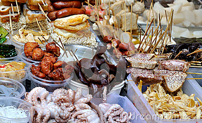 Local snack selling on street, China