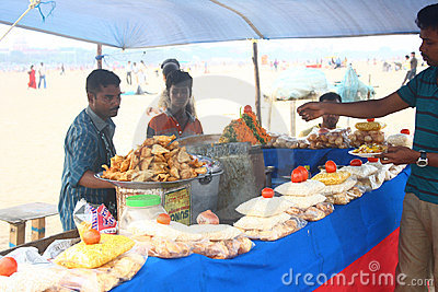 Local Snacks Vendor at Marina Beach, Chennai India Editorial Stock Photo