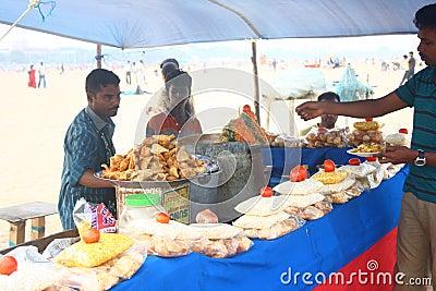 Local Snacks Vendor at Marina Beach, Chennai India Editorial Stock Photo