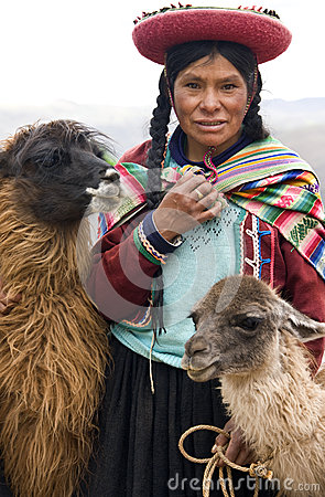 Local woman near Cuzco in Peru Editorial Stock Photo