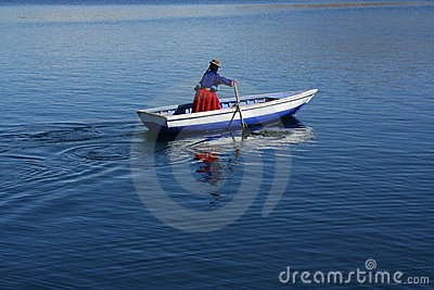 A local women on lake titicaca Editorial Stock Photo