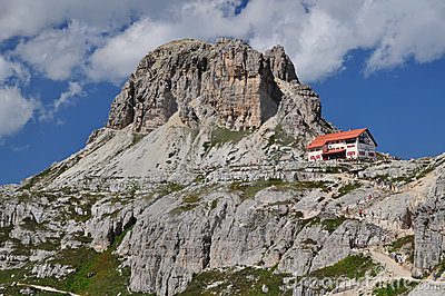 Locatelli chalet, Dolomites Mountains Editorial Photography