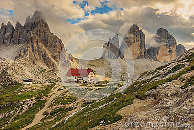 Locatelli Refuge in the Dolomites,Tre Cime Di Lavaredo,Alps,Ital