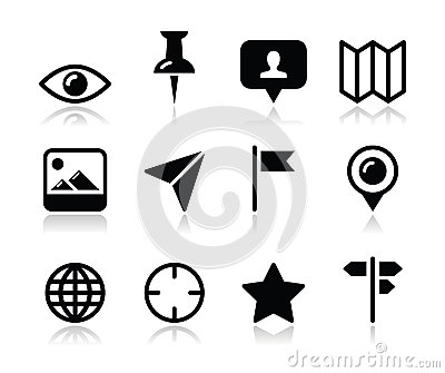 Location map travelling icon set -