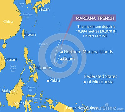 Free Location Of The Mariana Trench On A Schematic Vector Map Royalty Free Stock Image - 124775346