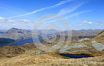 Loch Lomond and mountains from Ben Lomond Scotland