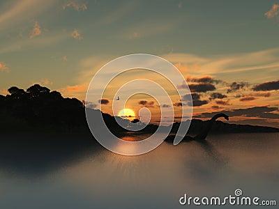 Loch Ness Monster in silhouette