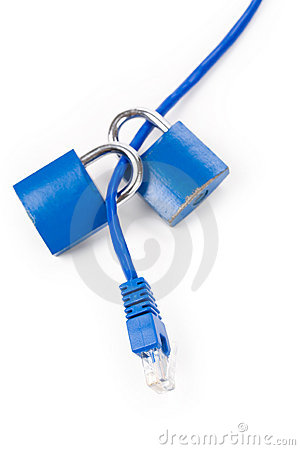 Free Lock And Network Cable Royalty Free Stock Photos - 5385238
