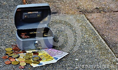 Lock Box With Bills And Coins Free Public Domain Cc0 Image