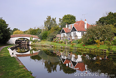 Lock and Bridge on the Grand Union Canal in the UK