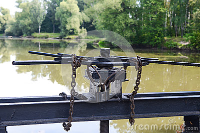 Lock with a chain on the lock