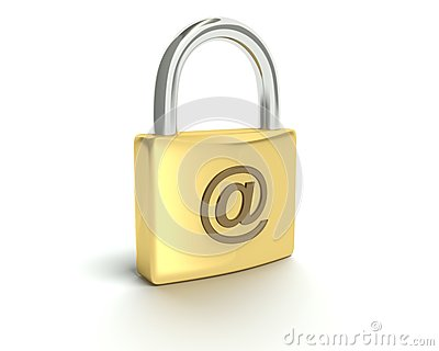 Lock with email sign security concept.