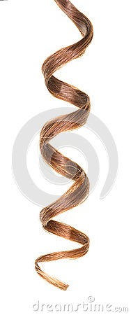 Free Lock Of Curly Brown Hair Isolated On White Background. Stock Photography - 71453132