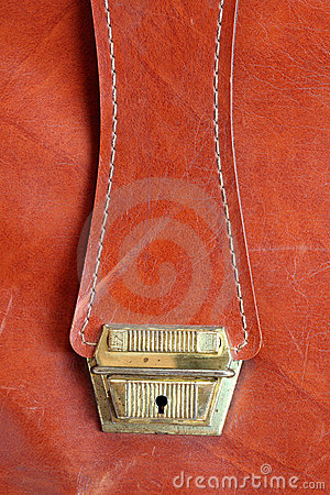 Lock on old leather bag