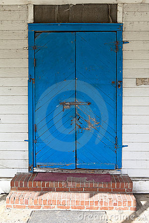 Locked blue door