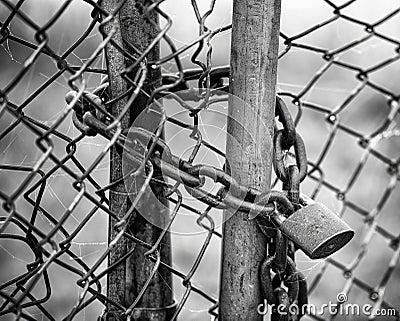 Locked Fence B&W