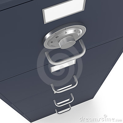 Locked filing cabinet with safe lock dial