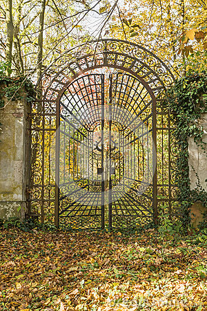Free Locked Iron Gate In The Autumn Park. Vertically. Stock Photography - 79684822