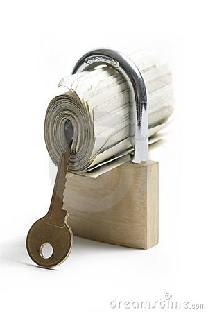 Free Locked Money With Key Nearby Royalty Free Stock Image - 458086