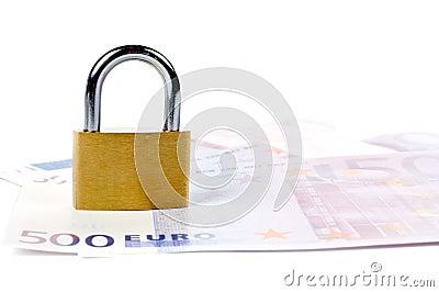 Locked padlock and money